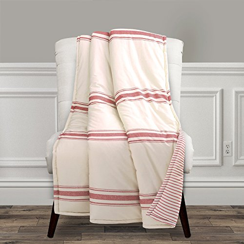 (Lush Decor Farmhouse Stripe Throw Blanket, 60