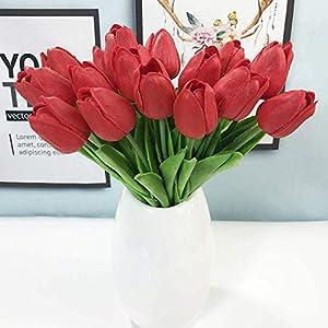 Artificial Flowers 30Pcs/Lot Pu Mini Tulip Flower Real Touch Wedding Flower Artificial Flower Silk Flower Home Decoration Hotel Party,Bule,30Pcs 2