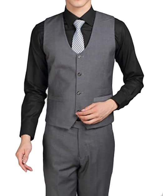 Uuyuk Mens Formal Single Breasted Slim Fit Wedding Dress Vest