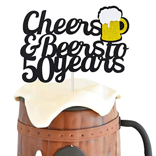 Joymee 50 Birthday Cake Topper,Cheers & Beers to 50 Years Cake Topper,50th Birthday Wedding Anniversary Party Supplies Glitter Decorations 1 Set