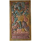 Vintage Lord Shiv Tandav Hand Carved Wall Hanging, Wood Carving Sculpture , Releif Panel