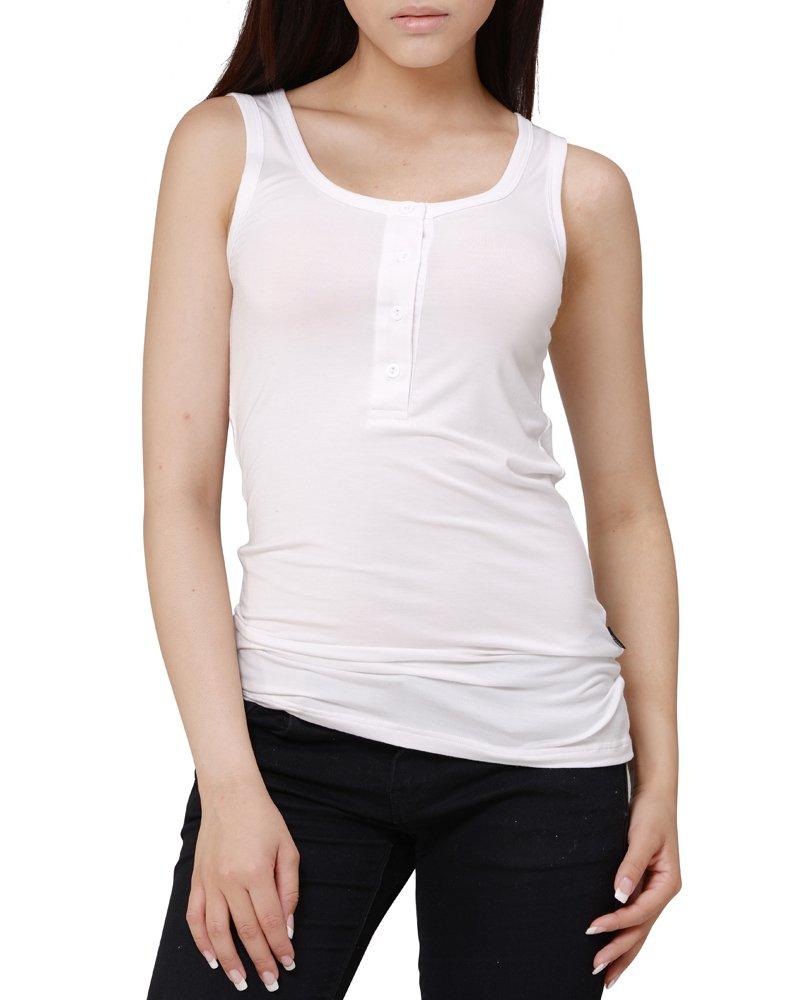 KalvonFu Women's Modal Basic Sleeveless Button Down Collar Henley Tank Top (XL, White)