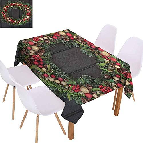 Restaurant Tablecloth Christmas Christmas Wreath Design with Little Baubles Mistletoe Spruce Fir Dark Oak Image Picnic W50 xL80 Multicolor
