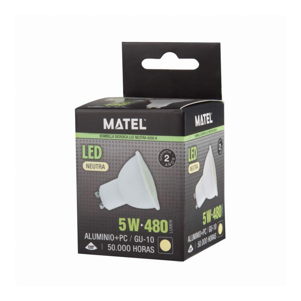 LED dicroica (pack 10 unidades) 5W 110º Blanco neutro 4500K GU10 320lm 220V-240v Alta calidad: Amazon.es: Iluminación