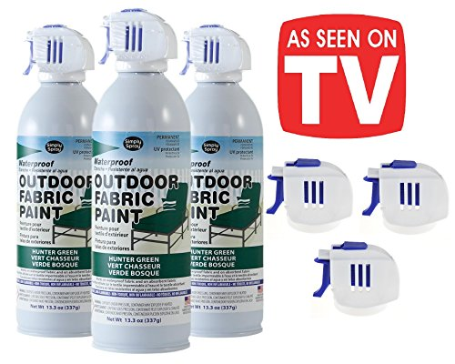 As Seen on TV Simply Spray - Outdoor Waterproof All Purpose Permanent Spray Paint with Extra Replacement Nozzle - 13.3 oz - New Improved Nozzle! (Hunter Green, 3 Pack) -