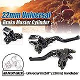 "Lisyline Universal Motorcycle 7/8"" 22mm Handlebar Brake Master Cylinder Clutch Lever Left & Right Set for Harley Honda Kawasaki Suzuki Yamaha(Black)"