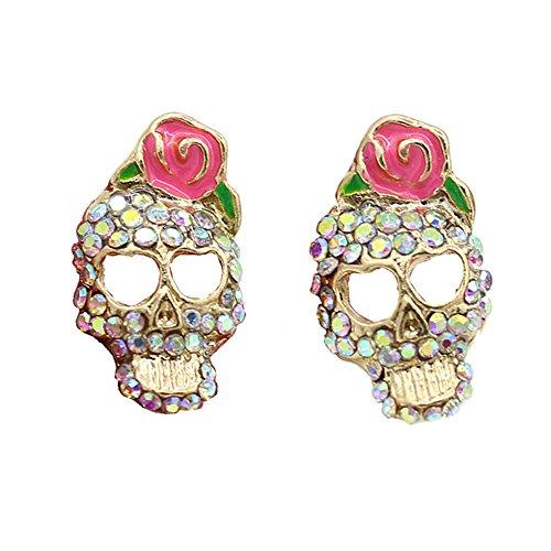 Modern Design Earrings (BODYA colorful Cz Crusted Skull Sugar Pink Flower Rose Stud Earrings love heart design Retro Earrings)