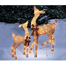 Set of 2 Golden Champagne Deer Doe Fawn Display Outdoor Christmas Yard Lawn Sculptures Decoration Seasonal Display