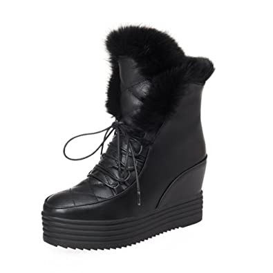 Ladies Bandage Metal Ornament Fur Collar Frosted Boots