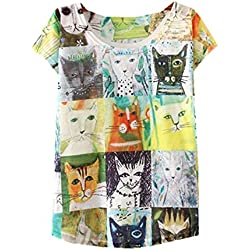 YICHUN Women Girls Thin T-Shirt Tops Tees Casual Wear Tunic Blouse (Cats 5#)