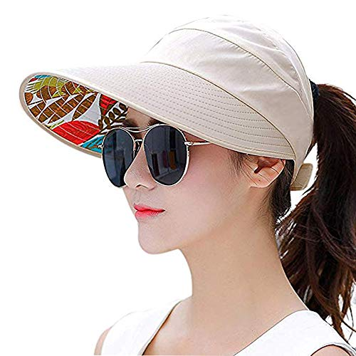 Sun Visor Hats for Women Large Wide Brim Foldable Summer Beach Hat UV Protection Caps (F-Beige)