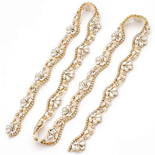 Yanstar Wedding Bridal Gold Rhinestone Applique Trim Crystal Iron On Applique for Dress Sash Garter Belt 1 Yard ()
