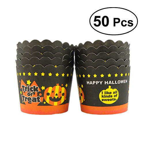 BESTONZON 50 Pcs Halloween Cupcake Wrappers Bake Cake Paper Cups Pumpkin Ghost Thicken Muffin Cup(Orange Bottom and Black Paper Cup)