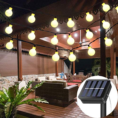 Solar String Lights Garden, 8 Modes 50 LED Globe String Lights Outdoor Solar Powered Fairy Lights Waterproof Mini Ball Decorative Light for Garden Patio Yard Home Wedding Party (Warm White) (String Lights Frosted)