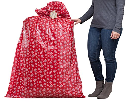 Hallmark 56″ Jumbo Christmas Gift Bag (Red with White Snowflakes) for Kitchen Appliances, Carry-on Luggage, Large Toys and Stuffed Animals