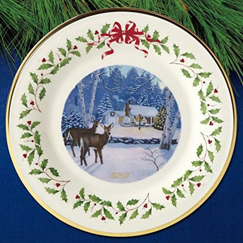 Lenox 2018 Annual Holiday Collectors Plate Outdoor Cabin Cottage Deer 24 K gold Made in USA Fine China New