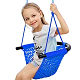 Kids Swing Seat with Adjustable Ropes, Hand-kitting Rope Swing Seat Great for Tree, Indoor, Playground, Background (Blue)
