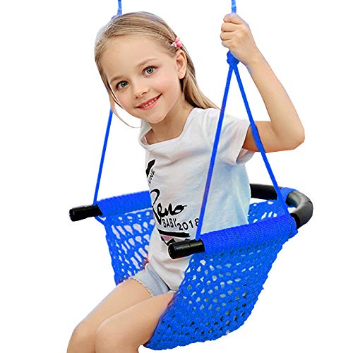 Kids Swing Seat with Adjustable Ropes, Hand-kitting Rope Swing Seat Great for Tree, Indoor, Playground, Background (Blue) ()