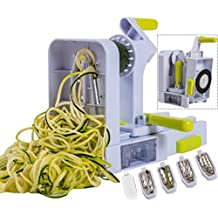 Brieftons QuickFold 5-Blade Spiralizer: 2018 Model, Versatile & Compact Foldable Vegetable Spiral Slicer, Best Veggie Pasta Spaghetti Maker for Low Carb/Paleo/Gluten-Free with Brush & 3 Recipe Ebooks
