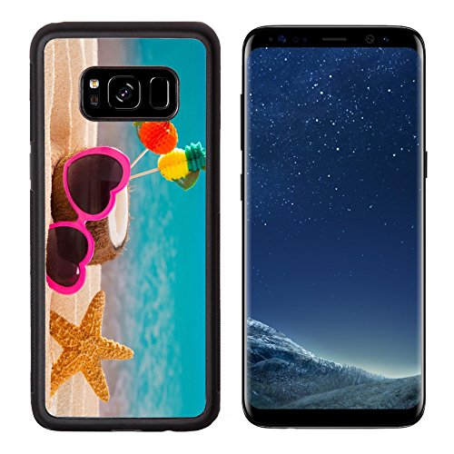 Mexican Sand Shape (Luxlady Premium Samsung Galaxy S8 Aluminum Backplate Bumper Snap Case IMAGE ID: 19616576 Coconut cocktail on tropical white sand beach heart shape funny sunglasses)