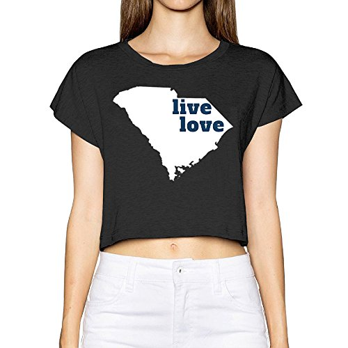 Women Live Love South Carolina My State Crop Tee 100  Slub Cotton
