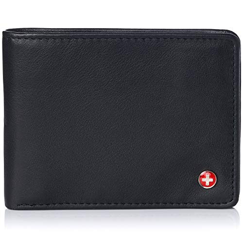 Alpine Swiss Mens RFID Safe Leather Wallet Slim Flip-out Bifold Trifold Hybrid Classic Nappa Black