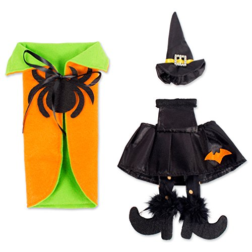 E-Living Halloween Wine Bottle Covers, Orange & Green Spider Cape w/ Black Witch Outfit