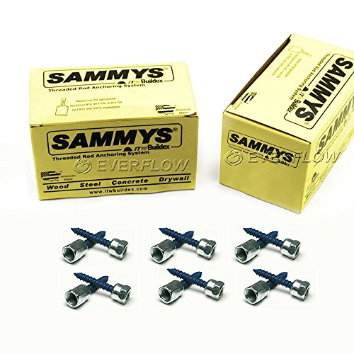 Everflow Sammys 8145925-50 CST 20-SS 3/8 Inch Screw Vertical Threaded Rod Drill Hole & Drive Anchor, Design for Concrete, Steel, Zinc Finish, Corrosion Resistance, 1-3/4 Inch Screw Length (Pack of 50)