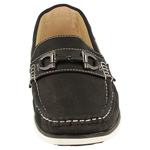 Cordones Remaches BlanL7ul9X8hod los Clásicos metálico con Laterales Antifaz metálicos y Negro Náutico Zapato Piso con n0ROvWwZxW