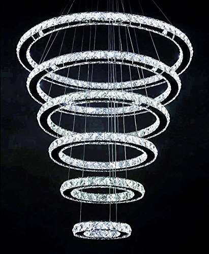 Siljoy Modern Crystal Chandelier Lighting Galaxy Series 6 Rings 8