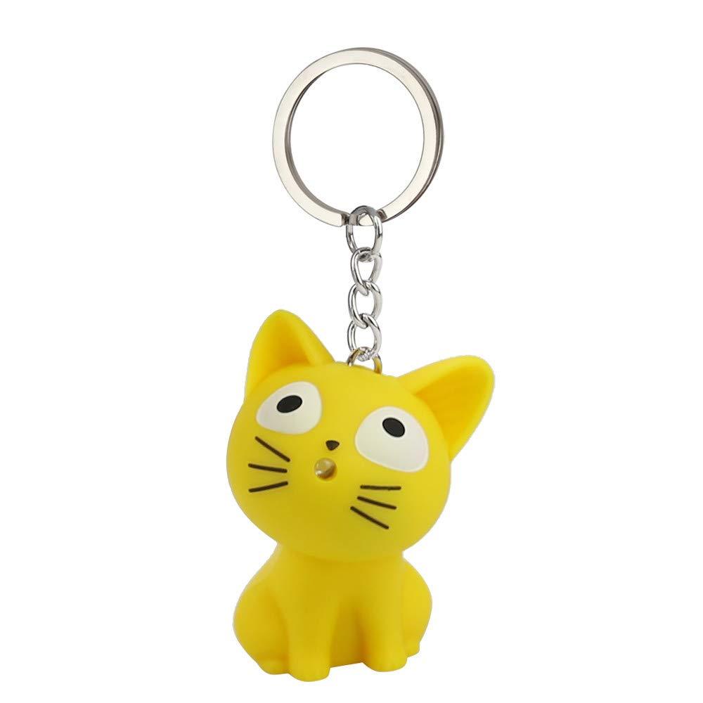 Emerayo Cute Animal Keychain Flashlight Kids Toy Gift with LED Light and Sound Keyfob (Yellow Cat, One)