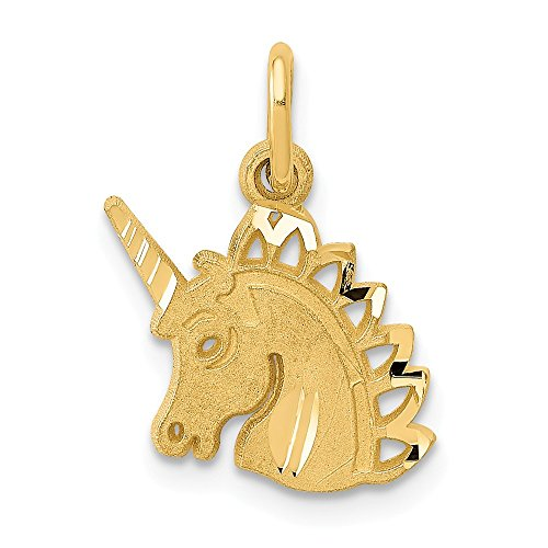 14k Yellow Gold Unicorn Pendant Charm Necklace Animal Fine Jewelry Gifts For Women For Her - 14k Gold Unicorn Yellow