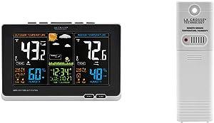 La Crosse Technology 308-1414B-INT, Black 308-1414B Wireless Atomic Digital Color Forecast Station with Alerts & TX141TH-BV3 Thermo-Hygrometer Sensor, Beige