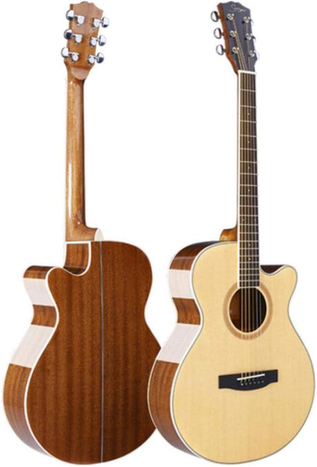 LOIKHGV Guitarras- Guitarra de Chapa de Abeto de Alto Grado 40/41Pulgadas balada Guitarra de una Sola Placa luz Baja acorde sentirse Bien Guitarra acústica con Cuerdas de Acero, Muesca, 40 pul