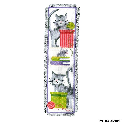 Vervaco PN-0143915 | Cat & Boxes Of Wool Bookmark Counted Cr