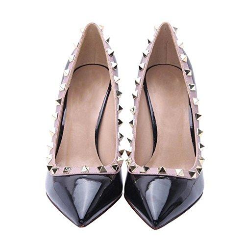Arc-en-ciel zapatos de las mujeres del dedo del pie en punta tachonadas bombas de tacón alto negro1