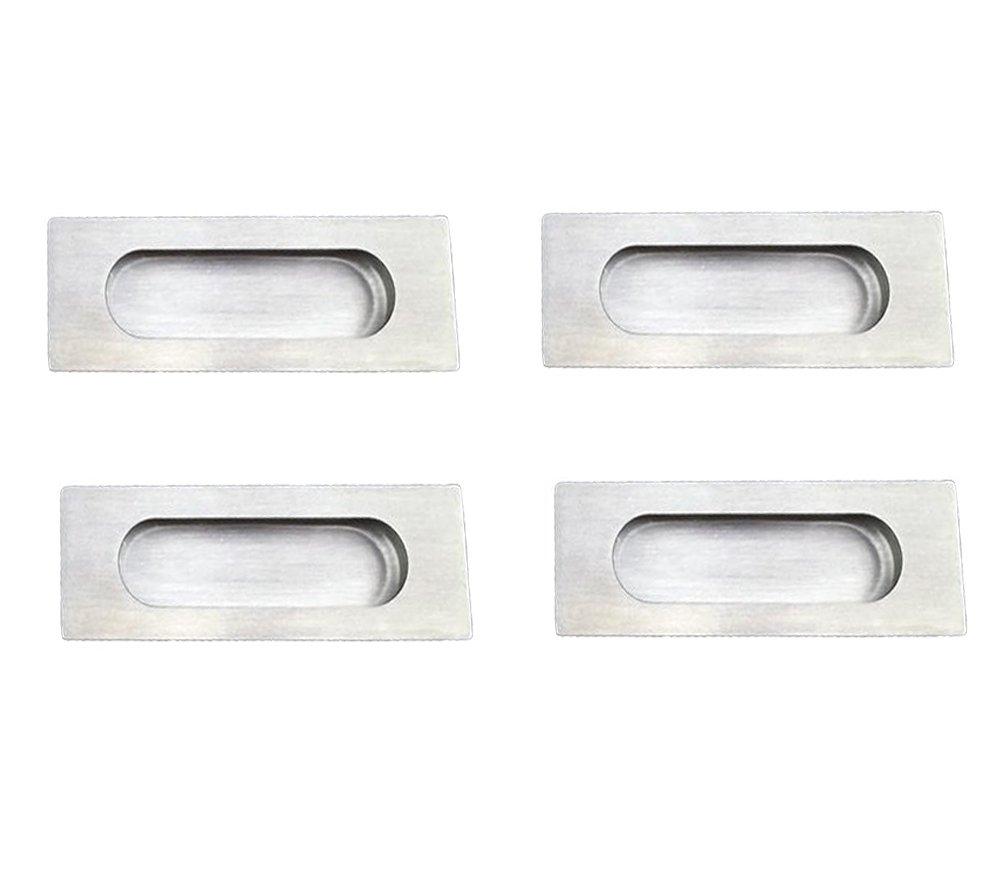 NELXULAS Brushed Nickel Stainless Steel Rectangular Flush Recessed Sliding Door Pull Handles Hidden Concealed Screws (4 Pack)