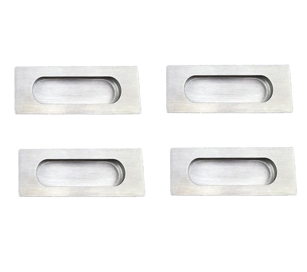 NELXULAS Brushed Nickel Stainless Steel Rectangular Flush Recessed Sliding Door Pull Handles Hidden Concealed Screws (4 pack)