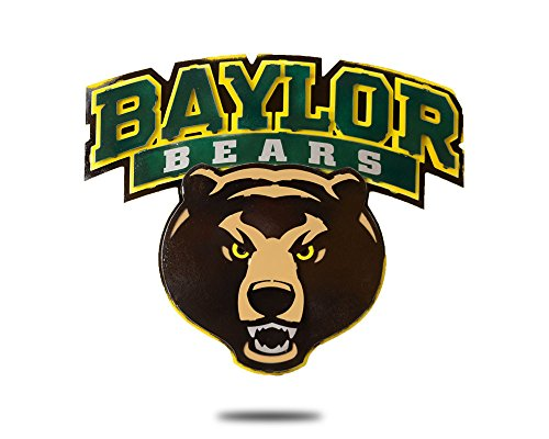 New Baylor University Bears - Gear New Baylor University Logo with Bear Head 3D Vintage Metal College Man Cave Art, Large, Green/Yellow