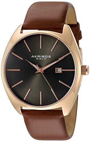 Akribos XXIV Men's Rose-Tone Case with Rose-Tone Accented Gray Dial on Brown Genuine Leather Strap Watch AK945RGBR