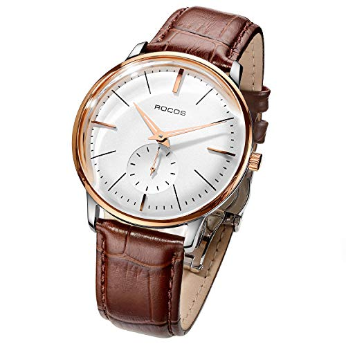 Men's Wrist Watches ROCOS Automatic Mechanical Watch for Men Waterproof Analog Watch with Stainless Steel and White Dial Luxury Classic Elegant Gift#R0140 ... (Brown)