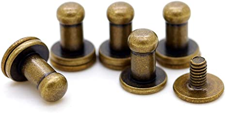 CRAFTMEmore 5MM Ball Head Stud Screw Back Nipple Rivet Studs Button Strap Stopper Leathercraft 20 Pack Antique Brass