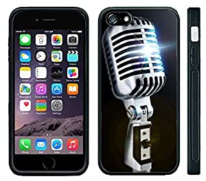 "Apple iPhone 6 PLUS 5.5"" Screen Black Rubber Silicone Case - Old School Microphone 50's Style Retro Mic Kimberly Kurzendoerfer"