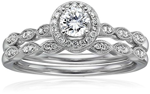 IGI Certified 14k White Gold Diamond Vintage Halo with Millgrain Wedding Ring Set (1/2cttw, H-I Color, I1-I2 Clarity), Size 7 (Diamond Rings Halo Wedding)