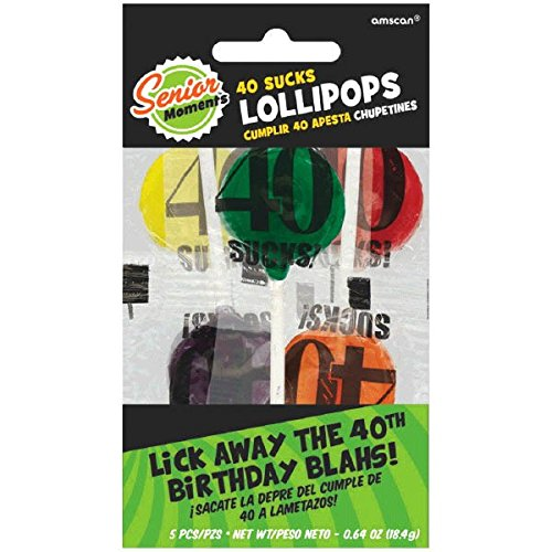 The Party Continuous 40th Birthday Party 40 Sucks Lollipop , Pack of 5, Multi Colored , .09 Ounces, candy]()