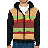 Q-oqo Men Hamburger Lettuce Meat Funny Men With Hat Hoodies Pullover Pocket Sweater With Hat and Pockets