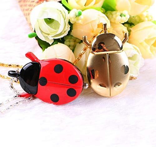 レトロなてんとう虫の形の水晶懐中時計ネックレスペンダントユニセックスギフト (Color : A)