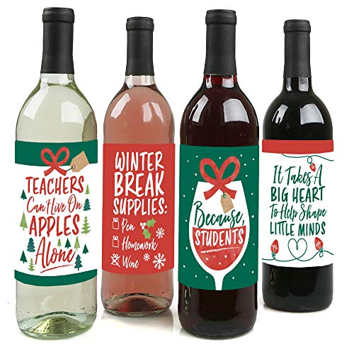 Big Dot of Happiness Teacher Holiday Presents - Teacher Appreciation Christmas Gifts Decorations for Women and Men - Wine Bottle Label Stickers - Set of 4