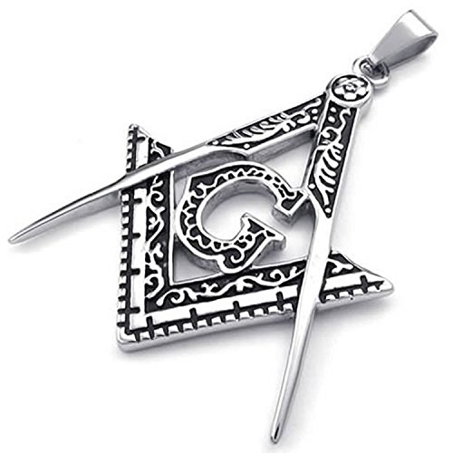 Fancy Jewelry Mens Freemason Masonic Stainless Steel Pendant Necklace, Silver, 18-26 inch Chain (Collection Stainless Pendant Steel)