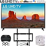 LG 65UK6090PUA 65' 4K HDR Smart LED UHD TV (2018) + Deco Mount Flat Wall Mount Ultimate Bundle + 2.4GHz Wireless Keyboard Smart Remote w/Touchpad Mouse + SurgePro 6-Outlet Surge Adapter w/Night Light
